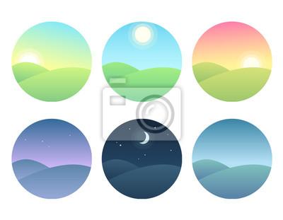 Poster Landschaft zu verschiedenen Tageszeiten