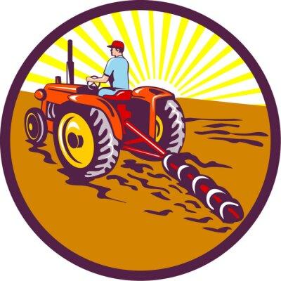 Poster Landwirt auf Traktor-Kreis Retro