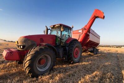 Poster Landwirtschaft Traktor auf einem Stoppelfeld