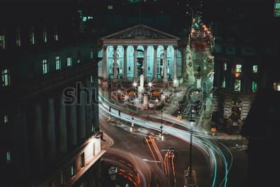 Poster Langzeitbelichtung - Royal Stock Exchange - London - Lichtspuren - City of London