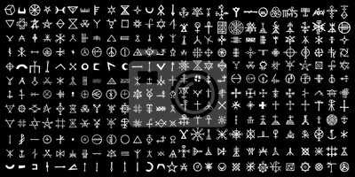 Poster Large set of alchemical symbols on the theme of old manuscript with occult lyrics alphabet and symbols. Esoteric written signs inspired by medieval writings. Vector