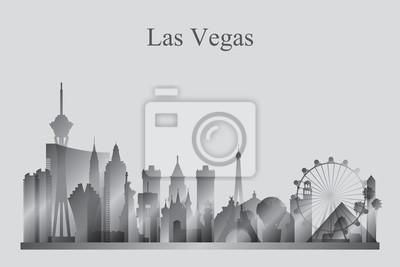 Las Vegas city skyline silhouette in grayscale