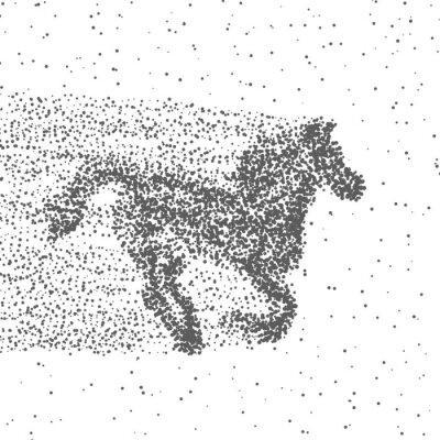 Poster Laufendes Pferd Aus Partikeln. Dotted Hintergrund. Vektor