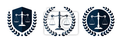 Poster Law firm logo set. Law office logotypes set with scales of justice. Symbols of legal centers or law advocates. Scales of justice icons.