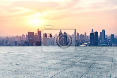 Poster Leere quadratische Front von Tianjin Stadt Skyline, China.