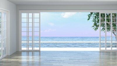 Poster Leeres Rauminnenluxuxluxus mit Bretterboden, Sommerurlaubsillustration der Illustration der Illustration 3d