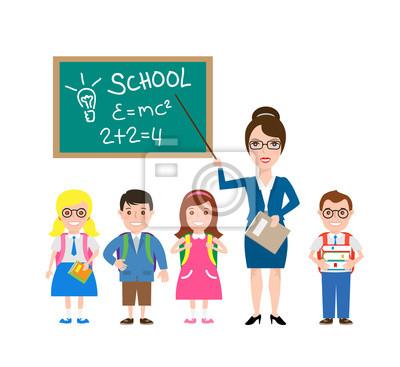 Poster Lehrer und Schulkinder. Schulkinder mit Rucksäcke und Bücher isoliert auf weißem Hintergrund