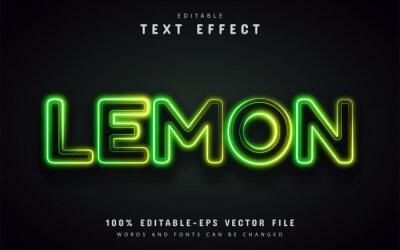 Poster Lemon text effect neon style
