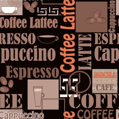 Poster Lettering Kaffee und Icons nahtlose Muster Retro-Hintergrund