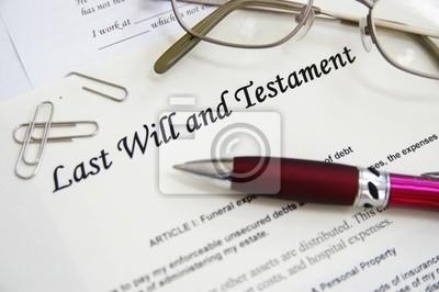 Letzter Wille und Testament Dokumente, mit Stift etc