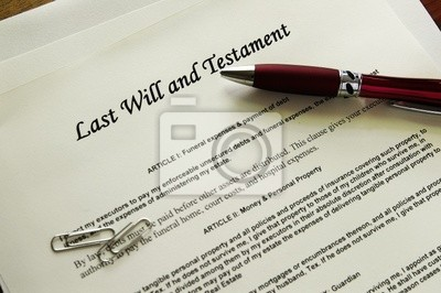 Letzter Wille und Testament von Dokumenten mit misc Artikel