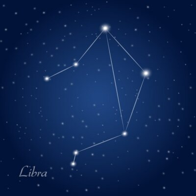 Poster Libra Sternzeichen Sternbild am nächtlichen Sternenhimmel