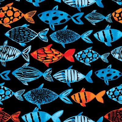 Poster Licht Aquarell blau und gold Fische auf dem schwarzen Hintergrund.