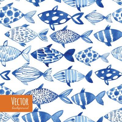 Poster Licht Aquarell blaue Fische auf dem schwarzen Hintergrund.