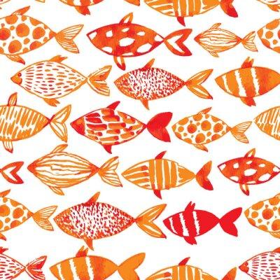 Poster Licht Aquarell Gold Fische. Nahtlos kacheln Fischmuster. Ve