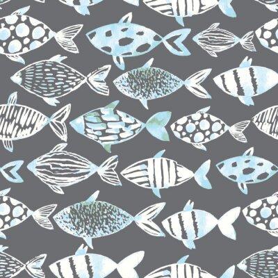 Poster Licht Aquarell weiße Fische auf dem grauen Hintergrund.