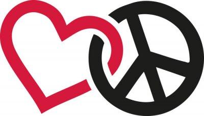 Poster Liebe und Frieden Zeichen verflochten