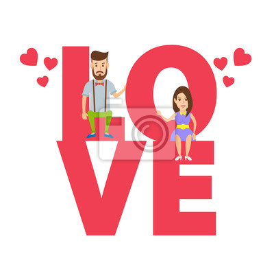 Poster Liebevolle Paar mit Briefen Liebe. fröhlichen Valentinstag.