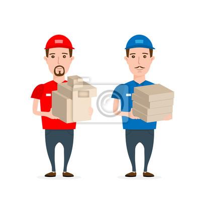 Poster Lieferung Mann mit Boxen