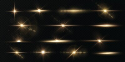 Poster Light rays of light horizontal golden color with glare and flashes isolated on a transparent background. Festive set light laser abstract. Celebratory Gold-colored light star with glare.