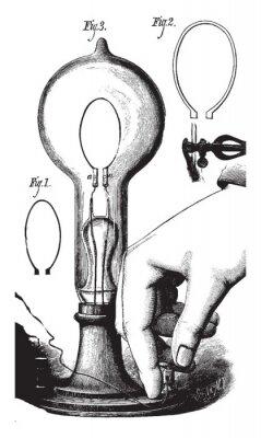 Poster Lightbulb, vintage illustration