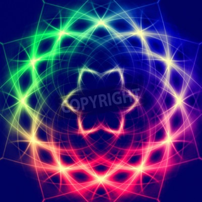 Poster Lights forming  abstract mystic retro colorful flower
