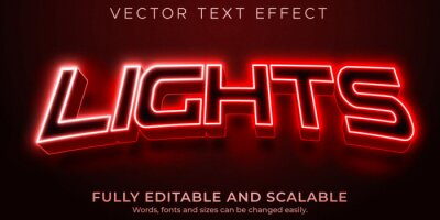 Poster Lights sport editable text effect, rgb and neon text style