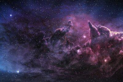 Poster Lila Nebel und kosmischen Staub im Sternfeld