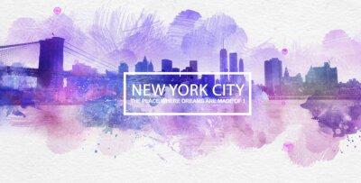 Poster Lila New York City-Träume Postkarten-Malerei