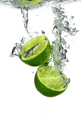 Poster Lime mit Wassertropfen