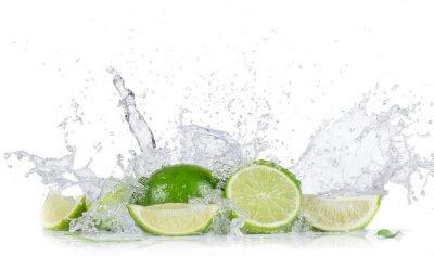 Poster Limes mit Wasserspritzen