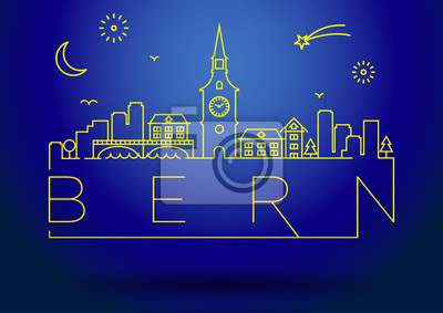 Linear Bern Stadt Silhouette mit typografischem Design