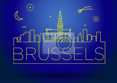 Linear Brüsseler Stadt-Schattenbild mit typografischem Entwurf