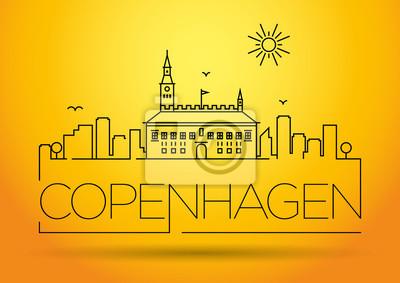 Linear Kopenhagen City Silhouette mit typografischem Design