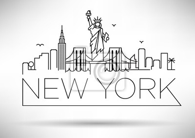 Linear New York City Skyline mit typografischen Entwurf