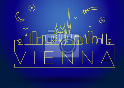 Linear Vienna City Silhouette mit typografischem Design