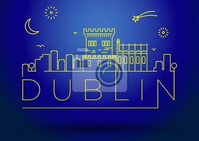 Lineare Dublin Stadt-Schattenbild mit typografischem Entwurf