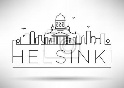 Lineare Helsinki-Stadt-Schattenbild mit typografischem Entwurf