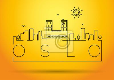 Lineare Oslo-Stadt-Schattenbild mit typografischem Entwurf