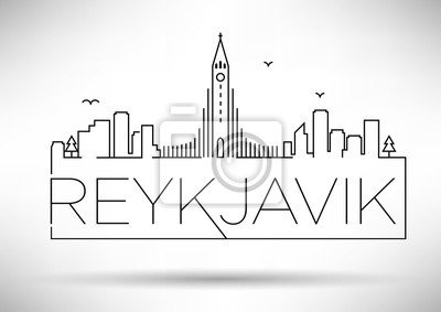 Lineare Reykjavik-Stadt-Schattenbild mit typografischem Entwurf