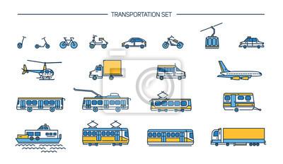 Poster Lineart Icon-Set mit Boden Transport, Luftfahrt und Wassertransport auf weißem Hintergrund. Sammlung mit Fahrrad, Bus, Trolley, U-Bahn, Zug, Auto, Flugzeug, Roller, Seilbahn, Straßenbahn, Flugzeug, Bo