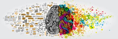 Poster Linkes rechtes menschliches Gehirnkonzept. Kreativer Teil und Logikteil mit sozialer und geschäftlicher Doodle