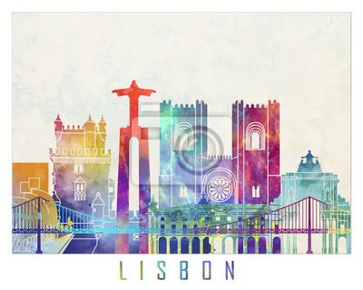 Lissabon Wahrzeichen Aquarell Poster