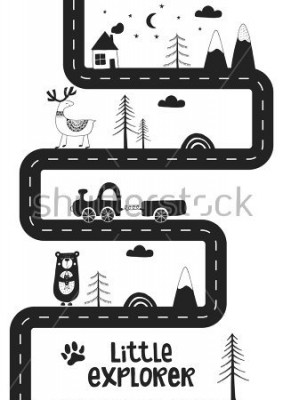 Poster Little explorer - Cute hand drawn nursery poster with road, wild animals and car. Unique card in black and white scandinavian style. Monochrome vector illustration.