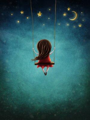 Poster Little fairy girl swingig