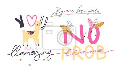 Llama handdrawn vector illustration. Slogan for t shirt. Modern beautiful print for kids. Creative funny typography slogan design.