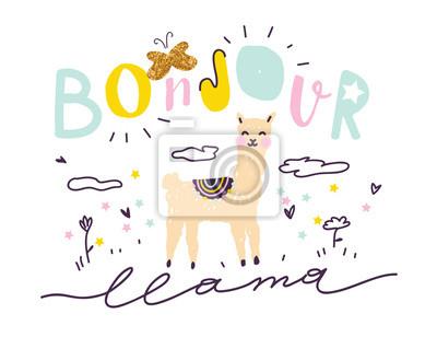 "Llama handdrawn vector illustration. Slogan for t shirt. Modern beautiful print for kids. Creative funny typography slogan design. Sign ""BONJOUR (HELLO) LLAMA""."