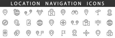 Poster Location icons set. Navigation icons. Map pointer icons. Location symbols. Vector illustration