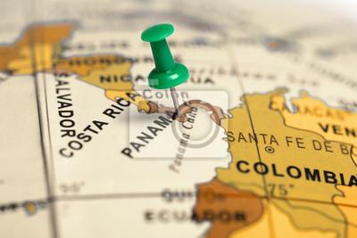 Location Panama. Auf der Karte grün Pin.