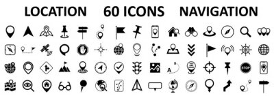 Poster Location set icons, navigation signs, GPS location symbols, collection map pointer icons - stock vector